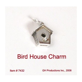 Bird House Charm Sterling Silver