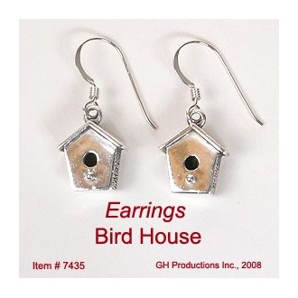 Sterling Silver Bird House Earrings