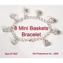 8 Mini Charms on Single-link Bracelet - Sterling Silver