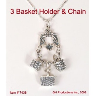 Necklace Charm Holder with 3 Mini Charms Sterling Silver