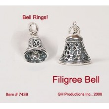 Filigree Bell Charm Sterling Silver