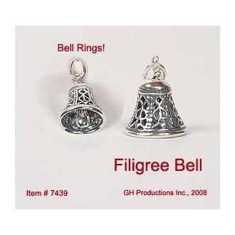 Filigree Bell Charm Sterling Silver