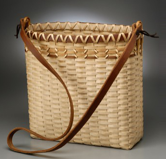 basket pack with leather straps with alice ogden
