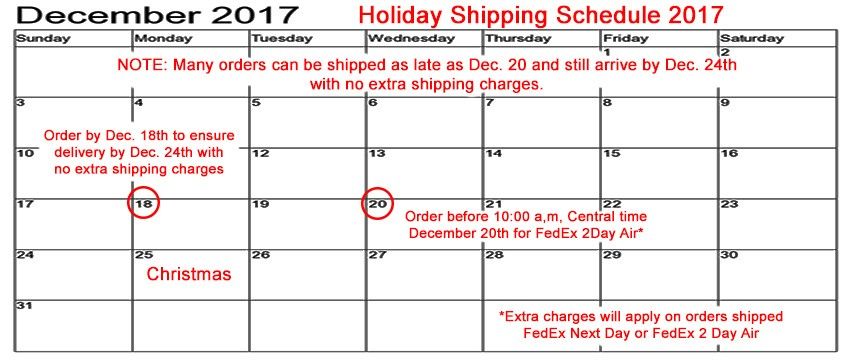 Holiday Shipping Schedule 2017